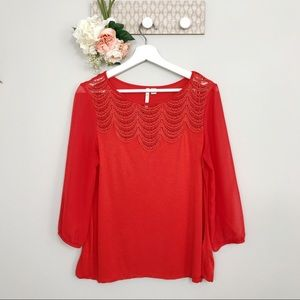 Lauren Conrad blouse lace scalloped trim medium